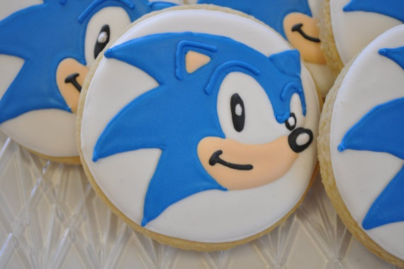 SONIC the hedgehog sugar cookie by TiffanysSweetSpot on Etsy, $36.00