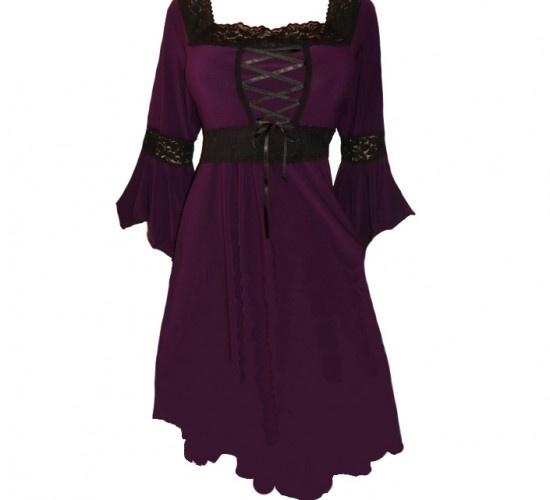 Renaissance Plus Size Corset Dress in Wicked Plum