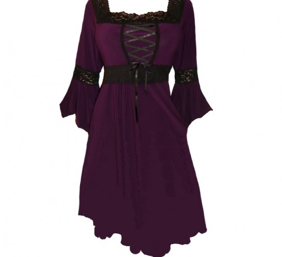Renaissance Plus Size Corset Dress in Wicked Plum