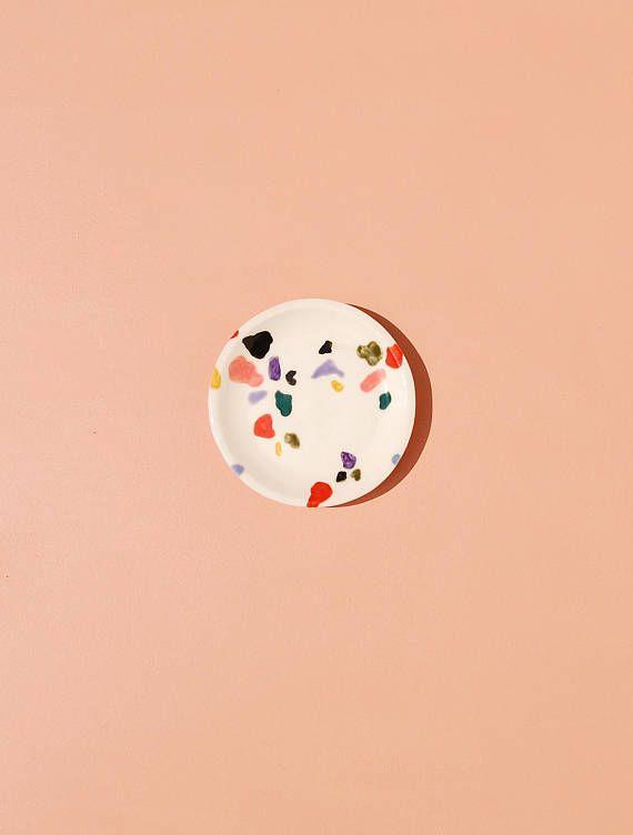 Ceramic Jewelry Dish / Terrazzo Ring Dish / Porcelain