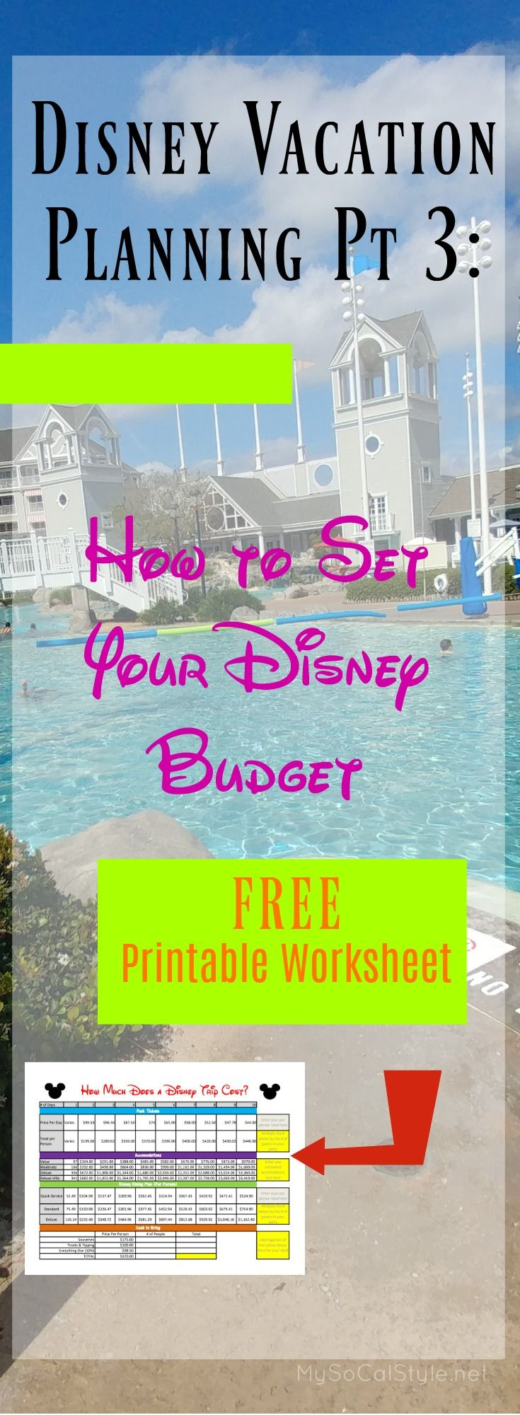 Check out this AWESOME budget worksheet for your next Disney Trip! #Disney #Planning #Disney