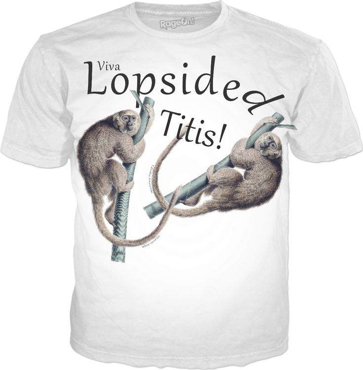 Viva Lopsided Titis - titi monkey humor all-over print t-shirt fashions. Laugh and learn!