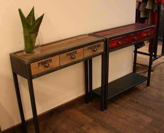 Console bois m tal muebles industriales muebles for Muebles industriales metal baratos