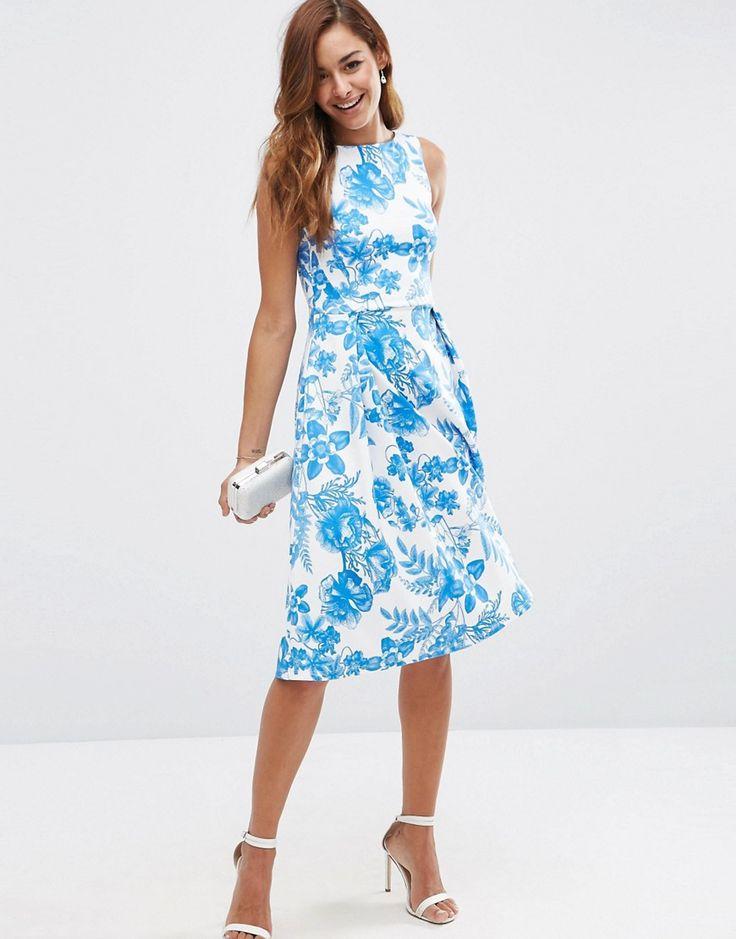 Immagine 4 di ASOS - Vestito midi con cut-out sul retro blu a fiori con stampa