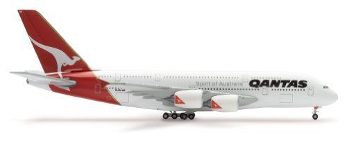 "Herpa Qantas A380-800 1/500 Model Airplane by Herpa Wings. $50.25. Not Intended For Children or Play. Precision Designed Display Model. Fully Assembled and painted , Ready For Display. This is a 1:500 scale die-cast model airplane from Herpa Wings of the Qantas A380-800 super jumbo aircraft. This model has rregistration VH-OQD ""Fergus McMaster"". Herpa Wings models are a highly detailed collectible models and are not toys."