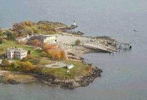 Aerial view of Winter Island, Salem, Massachusetts.  Stop on the Salem Trolley Tour, Fort Pickering Lighthouse, Salem Harbor