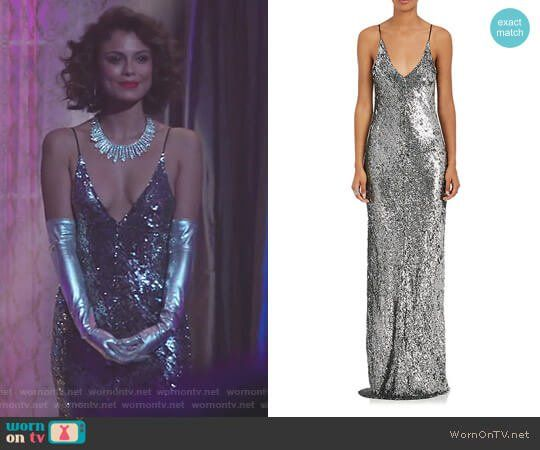 68fbd4b806eb Cristal s sequin v-neck gown on Dynasty