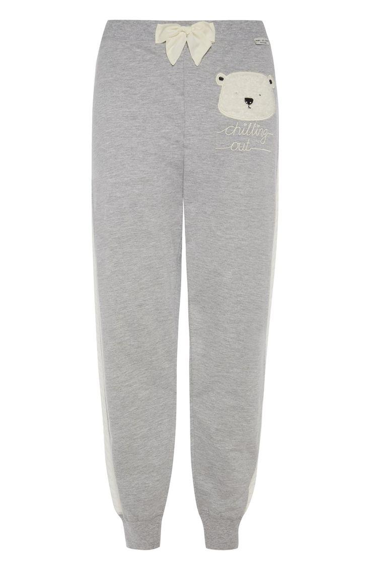 Primark - Grey Polar Bear Cuff Leg PJ Bottoms