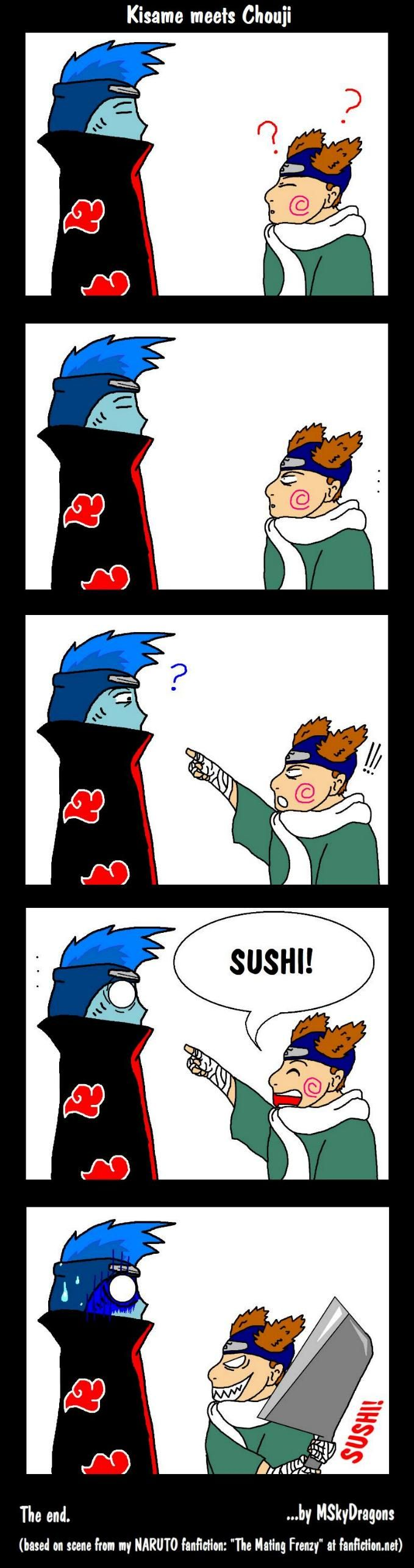 """Sounds fishy... Poor Kisame lost the """"who got the bigger knife""""-combat! <3"""