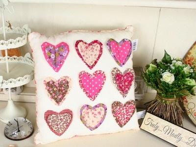 Pretty Heart Applique Cushion   Nine Applique Hearts   Shabby Chic Cushion