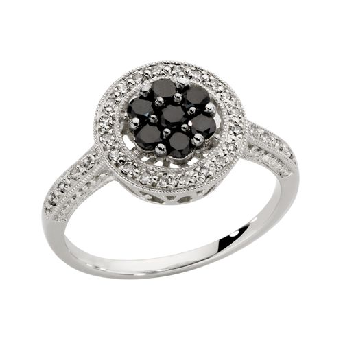 1/2 CARAT WHITE AND ENHANCED BLACK DIAMOND RING