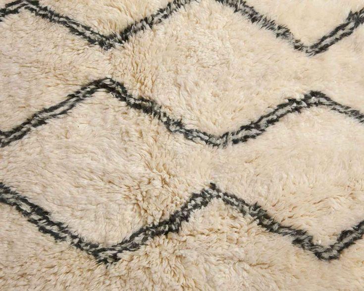 round berber tapijt wit zwart patroon