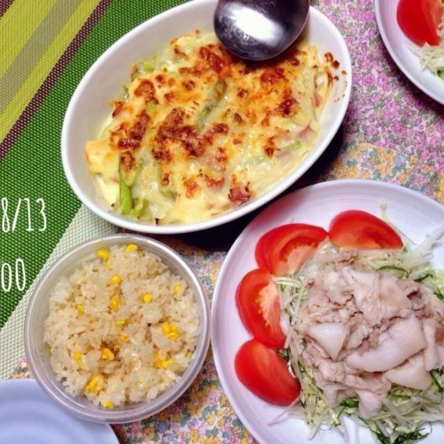 高野豆腐のグラタン   タマネギ、ベーコン、アスパラ 冷しゃぶサラダ とうもろこしご飯 - 93件のもぐもぐ - 晩ごはん by hir0oo0
