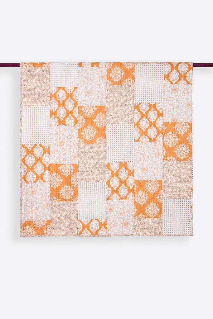 Nadia Cream & Ochre Patchwork Handprint Quilts