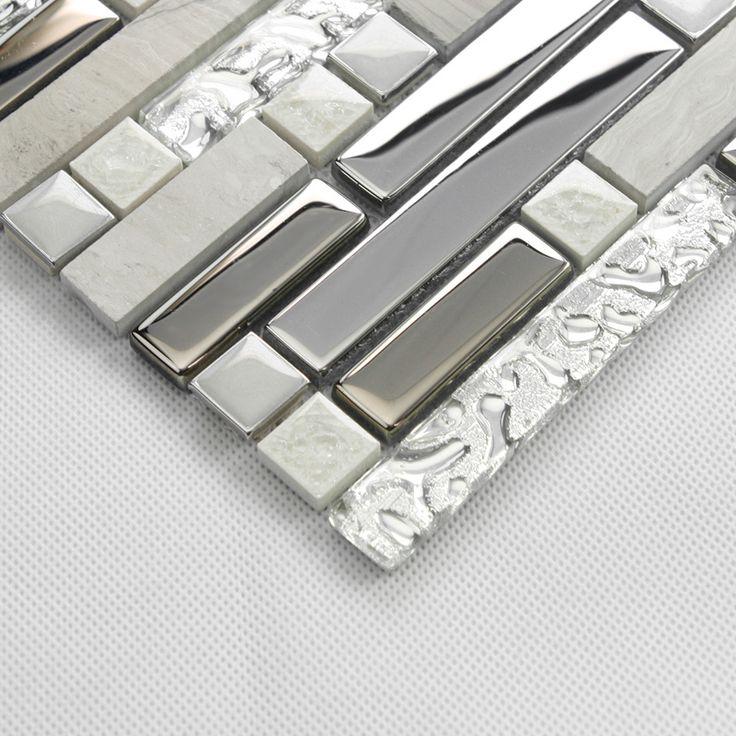 Mosaico di piastrelle decorative per interni pietra argento grigio marmo vetro specchio piastrelle backsplash cucina bagno metallico piastrelle della parete camino