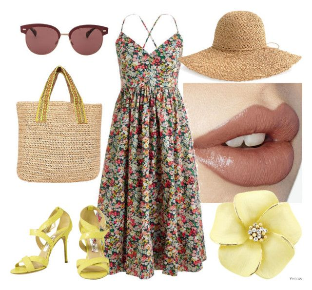Bez tytułu #253 by glirendree on Polyvore featuring moda, J.Crew, Jimmy Choo, Frontgate, Oliver Peoples and AERIN