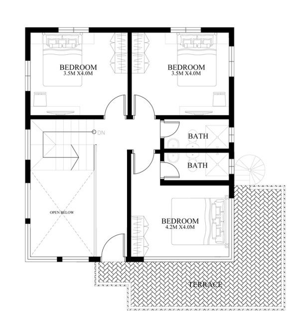 13 best design studios images on pinterest modern home for 2 bedroom ground floor plan