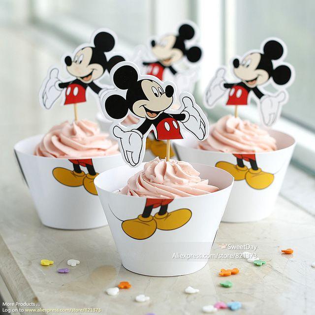 Livraison Gratuite Mickey Mouse emballages de gâteau de fête fournitures bébé douche décoration pour enfants d'anniversaire faveur gâteau de tasse ramasse