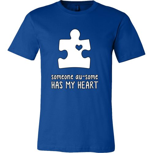 Someone Au-Some Has My Heart - Autism Awareness Canvas Mens Shirt - Free Shipping  Please help us as we raise awareness and give back to those with family members affected by autism, including our staff and friends.   I truly appreciate your support. Please always remember... April is Autism Awareness Month, but Everyday is Autism Awareness Day!