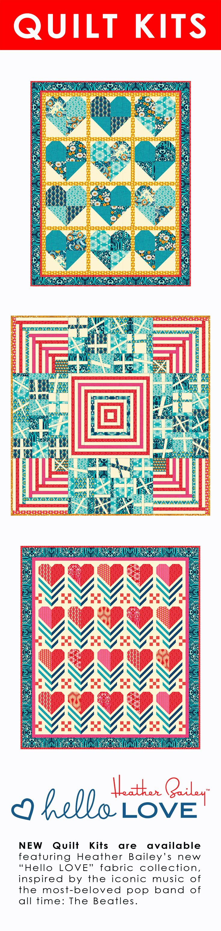 "Heather Bailey Quilt Kits featuring Heather's ""Hello LOVE"" fabric collection with Free Spirit Fabric. Each kit includes the materials needed to make the exact quilts shown above. More info at Heather Bailey Store."