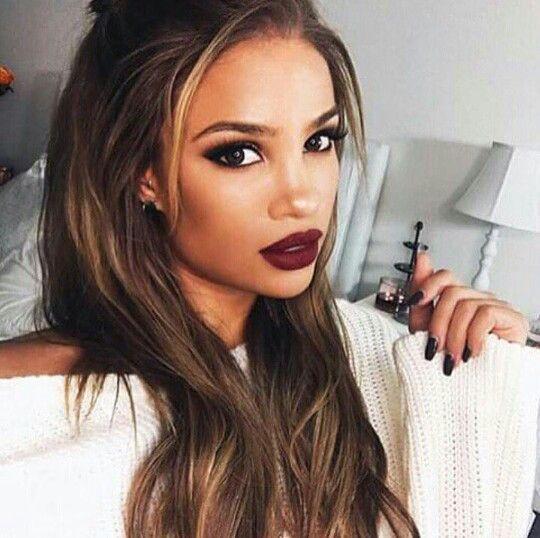Maroon lips and pretty eye makeup