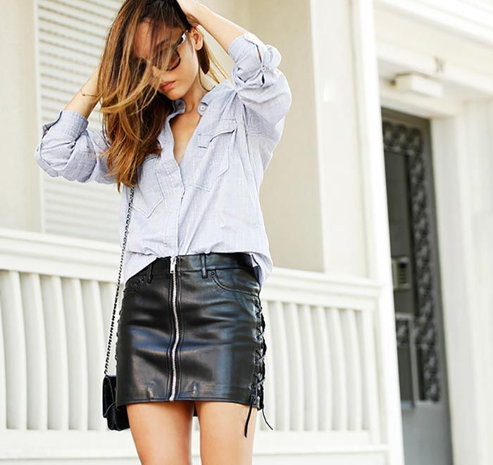 Button down shirt + leather mini skirt