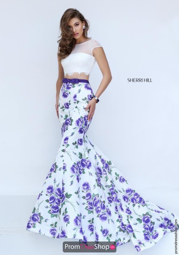 Sherri Hill Multi Print Taffeta Dress 50421