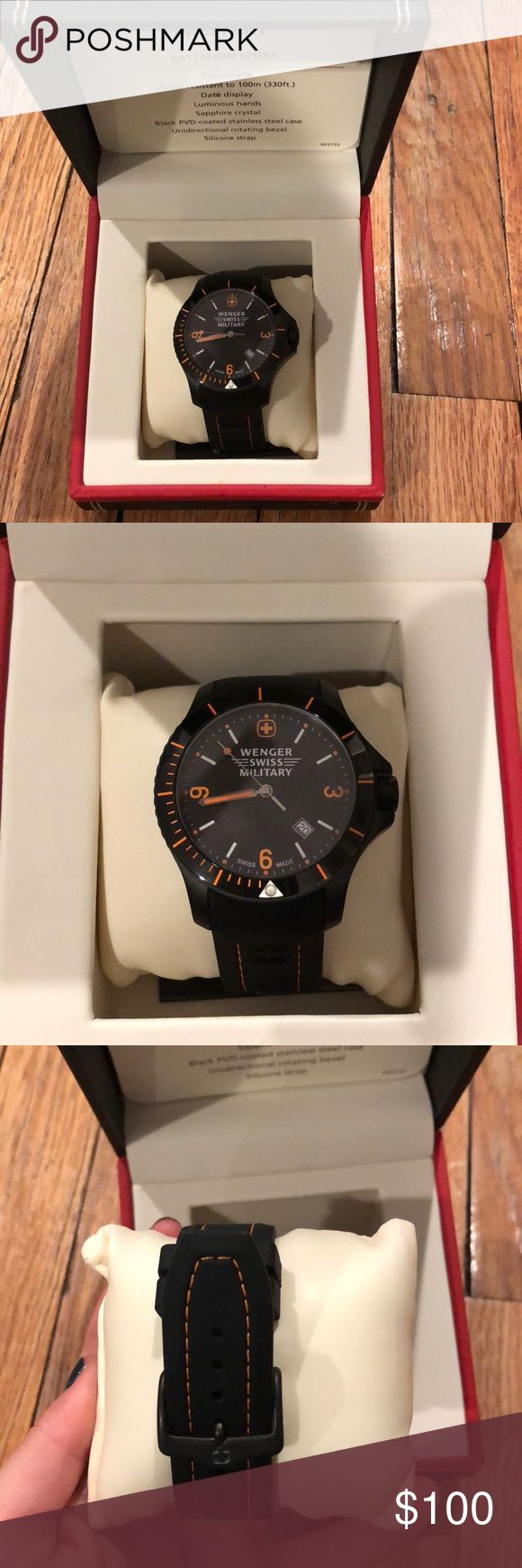 Wenger Swiss military watch Brand new black and orange Swiss watch. Comes with original box and care sheets. Works perfectly. Never been out of the box. Great gift for a brother husband freind or boyfriend. Price is negotiable. Accessories Jewelry