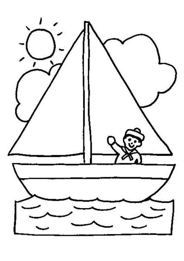 Dessin à colorier d'un jeune matelot à bord de son bateau