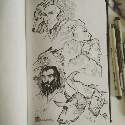 The Wolf , The Lion, The Griffin, The Bull   Solas, Cullen, Blackwall, Iron Bull
