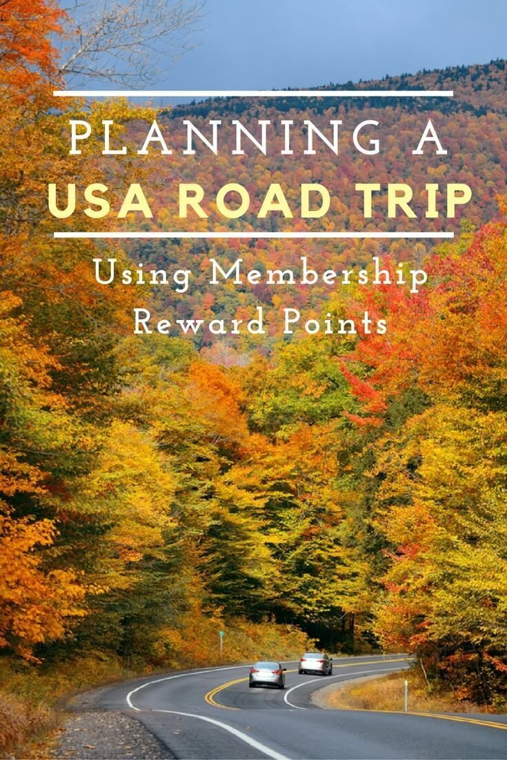 Planning a USA road trip using membership reward points. How far can you go? Tips inside.