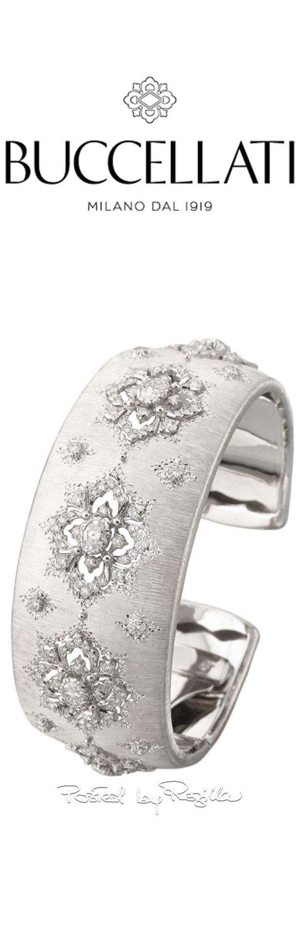Braccialetto in oro bianco e diamanti di Buccellati.