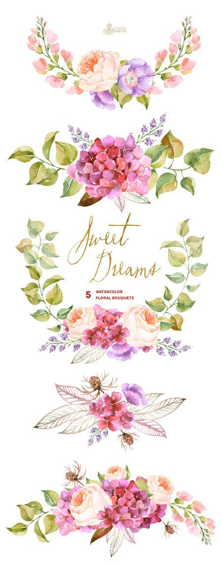 Sweet Dreams: 5 Watercolor Bouquets, hydrangea, roses, poppy, wedding invitation, floral, greeting card, diy clip art, purple flowers