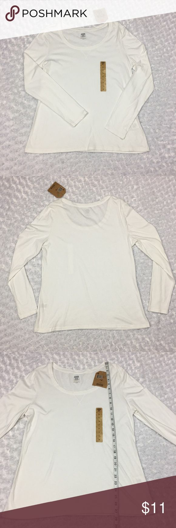 NWT Thin Soft White Longsleeve Top with Scoop Neck NWT Route 66 Womens XL Thin Soft White Longsleeve Top with Scoop Neck  Size: Womens XL, SEE PHOTOS FOR MEASUREMENTS  Condition: New with tags.  * This listing is for ONE (1) Top *  - Thin, Soft material  * See photos for measurements and more details *  Please note: Color may vary slightly due to different display screen calibrations. [D-42] Route 66 Tops Tees - Long Sleeve