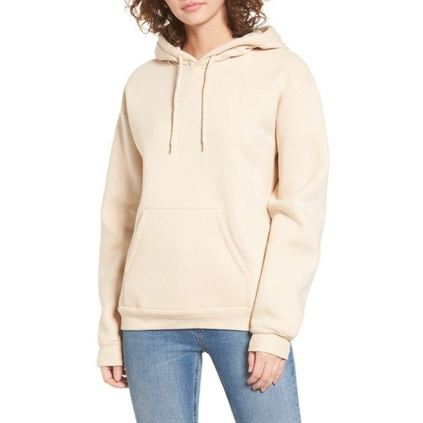 Women's Topshop Oversize Hoodie ($45) ❤ liked on Polyvore featuring tops, hoodies, nude, petite, pink hooded sweatshirt, oversized hoodie, sweatshirt hoodies, pink top and pink pullover