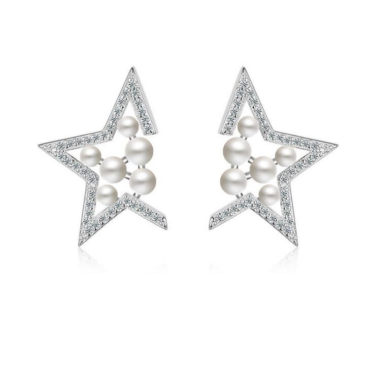 2017 new arrival hot sell shiny Five-pointed star CZ diamond zircon stud earrings 925 sterling silver ladies`pearl earrings gift