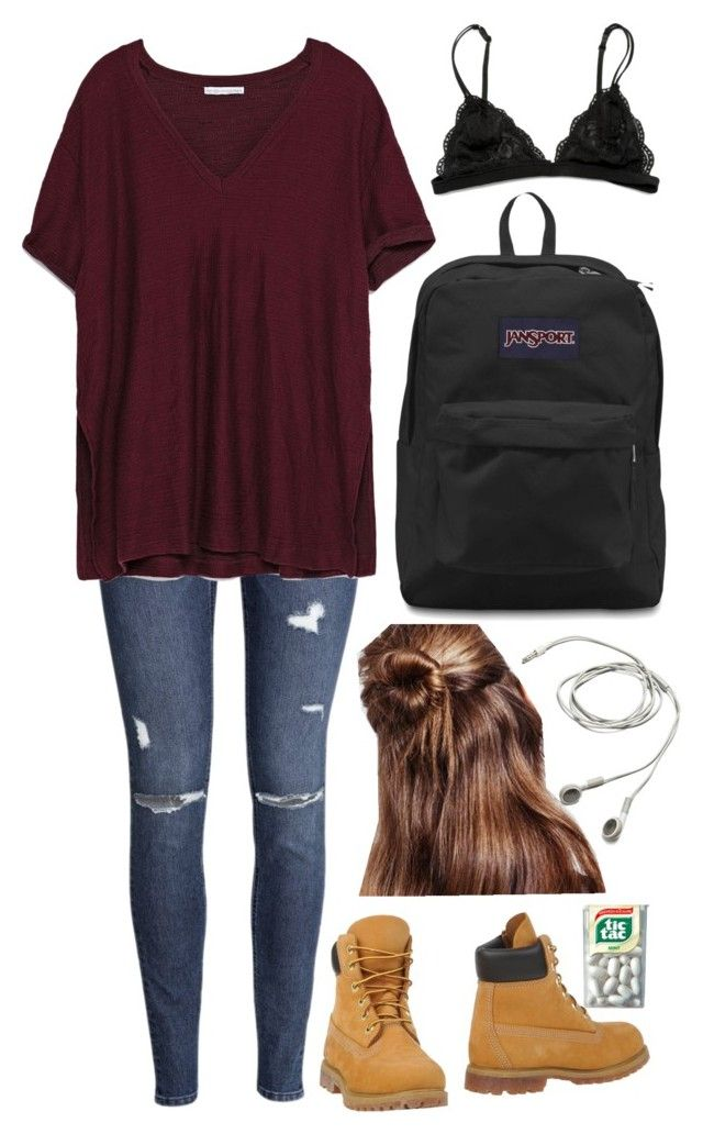 """First Day of High School & Essentials!"" by frozenivoryheart ❤ liked on Polyvore featuring JanSport, H&M, Zara and Timberland"