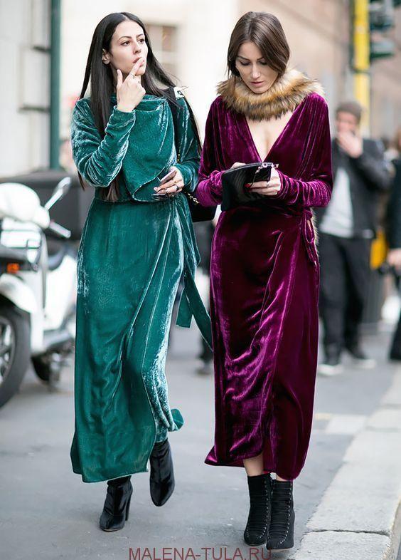Тренд 2017-2018 бархатные платья костюмы бомберы пальто из велюра плюшевые куртки фото