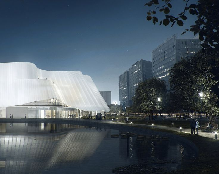 MAD Architects Unveils Design for Translucent China Philharmonic Hall in Beijing,Lotus Pond View. Image Courtesy of MAD Architects