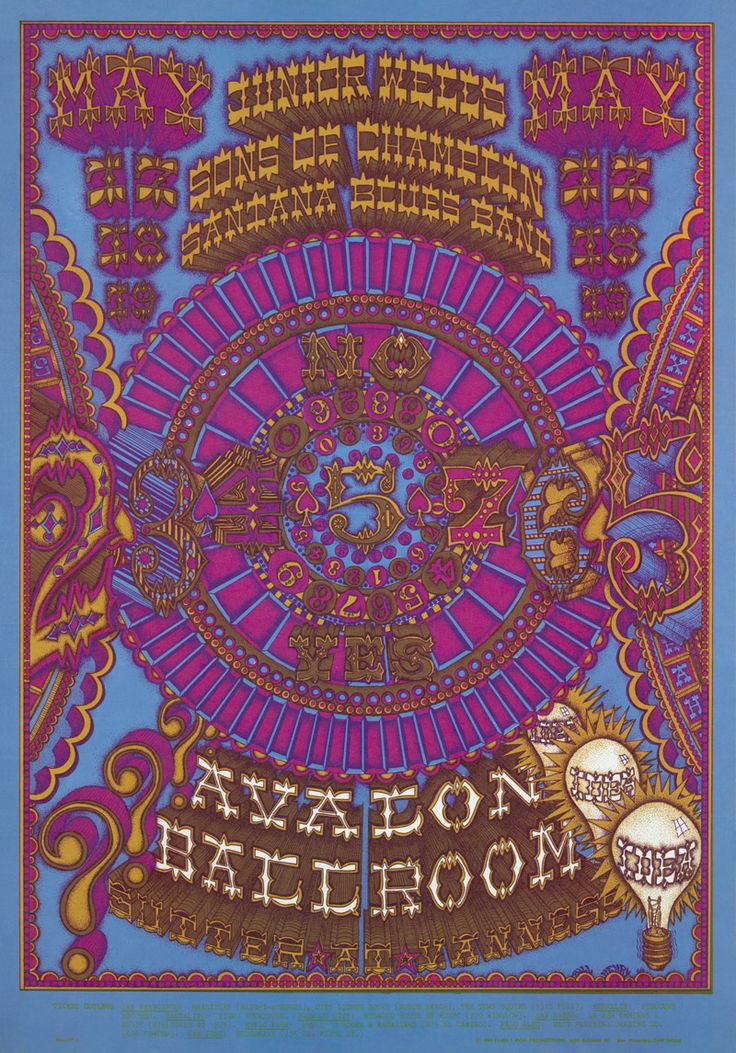 Junior Wells, The Sons of Champlin Santana Blues Band at Avalon Ballroom Poster ARTIST: William Henry DATE:May 17, 1968 - May 19, 1968 VENUE:Avalon Ballroom (San Francisco, CA) may
