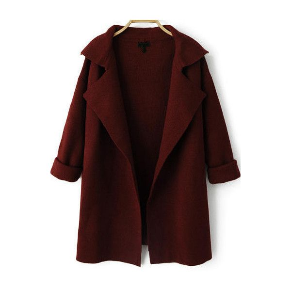 Wine Red Lapel Long Sleeve Loose Knit Cardigan ($28) ❤ liked on Polyvore featuring tops, cardigans, jackets, outerwear, red, knit cardigan, long sleeve tops, loose cardigan, red top and loose tops