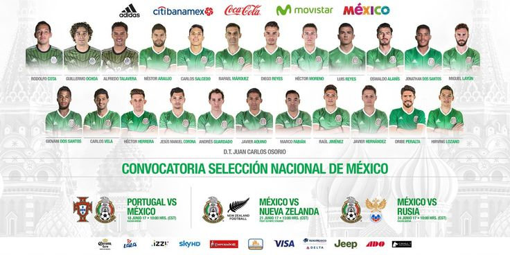 DOS CHIVAS ESTARÁN EN LA COPA CONFEDERACIONES CON MÉXICO La Federación revela las convocatorias de cada una de las selecciones participantes. El evento se llevará a cabo del próximo 17 de junio al 2 de julio en Rusia.