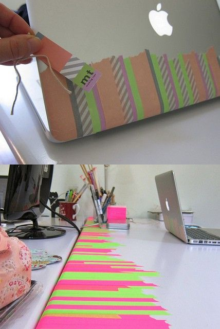 washi tape mac and table - Personaliza tu mesa y ordenador con tiras de cinta japonesa