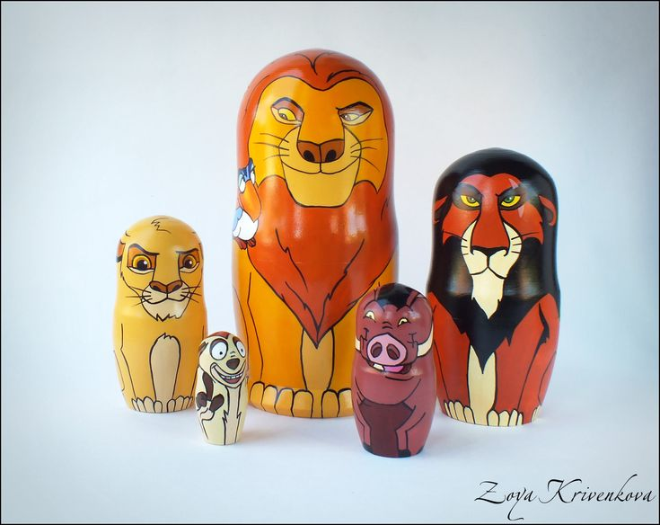 Nesting doll Lion King Geek Gift Matryoshka Mufasa Simba Scar Timon and Pumbaa Матрешка Король Лев by ZoyaKrivenkova on Etsy