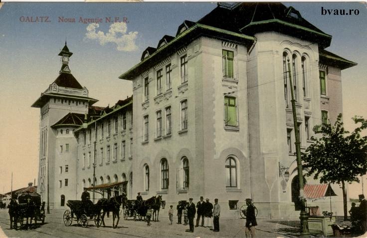 """Noua Agenţie N.F.R, Galati, Romania, anul 1915.  Imagine din colecţiile Bibliotecii Jedeţene """"V.A. Urechia"""" Galaţi."""