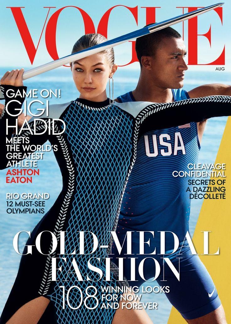 Gigi Hadid on Vogue US August 2016 Cover with Ashton Eaton