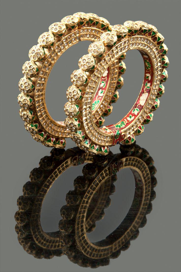 American diamonds embedded jadau kada with meenakari in gold plating