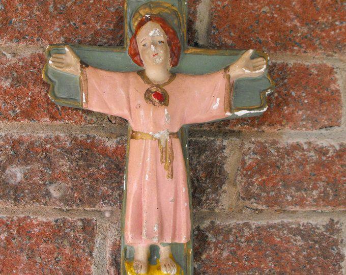 Antique Crucifix, Chalkware, Crucifix, Child Jesus, Religious , Vintage Cross, Chalkware Crucifix, Crucifix, Cross, Wall Crucifix