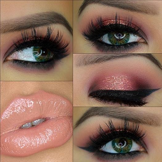 Glossy Peach Lips With Smokey Eyes