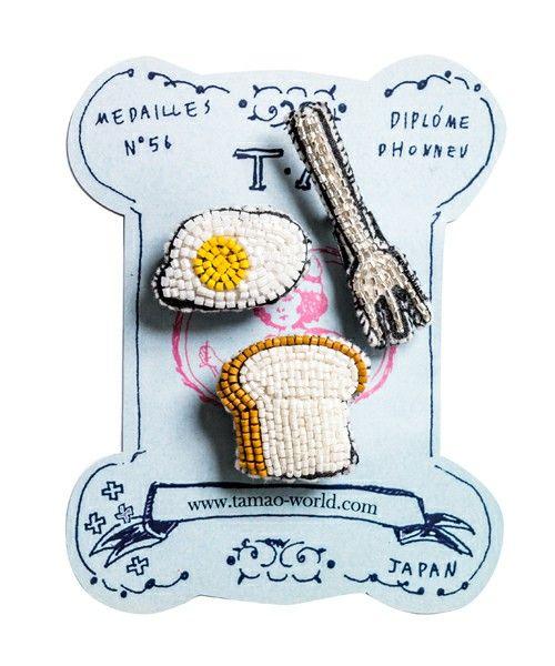 tamao(タマオ)のビーズ刺繍ミニブローチ1(口紅と唇/食パンと目玉焼きとフォーク/黒電話と唇)(ブローチ/コサージュ)|その他2